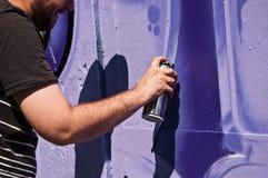 Closeup hand of painter of graffiti Stock Photography