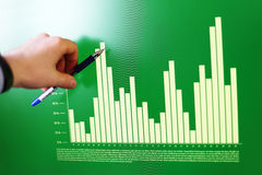 Closeup of hand pointing on a graph data Royalty Free Stock Images