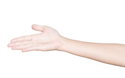 Closeup hand receive isolated clipping path inside Stock Photo