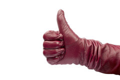 Closeup of hand in red glove showing thumbs up Royalty Free Stock Photos