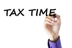 Closeup of hand with tax time Royalty Free Stock Photography
