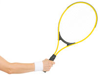 Closeup on hand with tennis racket Royalty Free Stock Photography