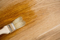 Closeup hand use brush paint clear lacquer on wood surface Royalty Free Stock Photo