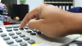 Closeup of hand using handle control Royalty Free Stock Images