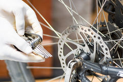 Closeup hand wearing white glove holding multi unbrako key tool next to parts of bicycle wheel, mechanical repair concept Stock Image