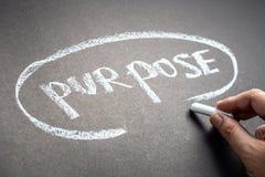 Purpose on Chalkboard. Closeup hand write a word PURPOSE on chalkboard stock photos