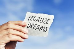 Text legalize dreams in a piece of paper Royalty Free Stock Image