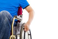Closeup of handicapped man sitting on a wheelchair Royalty Free Stock Photo