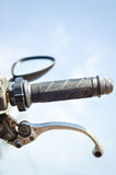 Closeup on handlebar of a motorcycle Stock Image