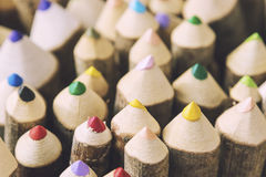 Closeup of handmade colored crayons. Closeup of handmade colored wooden crayons Stock Photography