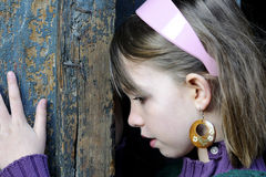 Closeup with handmade earrings and girl posing Royalty Free Stock Images