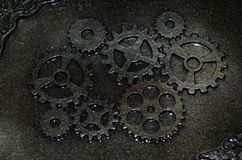 Closeup of a handmade steampunk casket. With gears Royalty Free Stock Photo