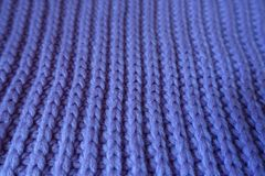 Closeup of handmade violet rib knit fabric Stock Photo