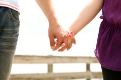 Closeup of a hands. Of a couple held together royalty free stock image