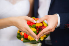 Closeup of hands of bridal unrecognizable couple Royalty Free Stock Photos