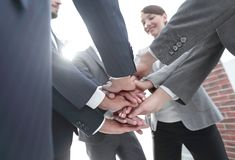 Closeup.the hands of the business team together. The concept of unity royalty free stock photo