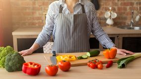 Closeup of hands of chef cook cutting vegetables on wooden table stock image