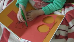 Closeup of hands and drawing the child stock video footage