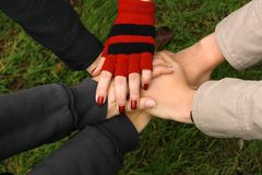 Closeup of hands held together Royalty Free Stock Images