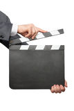 Closeup of hands holding clapper board Royalty Free Stock Images