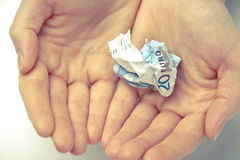 Closeup of hands holding money Stock Images