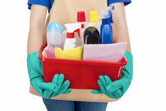 Closeup of Hands of Housewife Holding  Cleaning Gear Royalty Free Stock Image