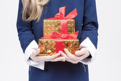 Closeup of Hands of Little Caucasian Girl With Christmas Present Royalty Free Stock Photo