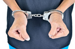 Closeup of the hands of a man with handcuffs Stock Photography