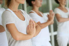 Closeup of hands during the meditation Stock Image