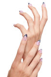 Closeup hands nail art with jewel Royalty Free Stock Photos