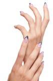 Closeup Hands Nail Art With Jewel Royalty Free Stock Photos