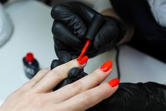 Manicure specialist in black gloves cares about hands nails. Manicurist paints nails with red nail polish stock photo