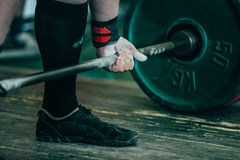 Closeup of hands of powerlifter Royalty Free Stock Photo