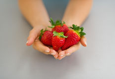 Closeup on hands with strawberries Royalty Free Stock Photos