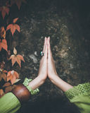 Closeup of hands of woman practice yoga Royalty Free Stock Photo