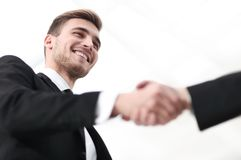 Closeup handshake proven business partners Stock Image