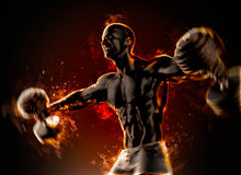 Closeup of a handsome bodybuilder with burning dumbbells. 3d ill. Ustration Stock Photography