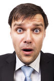 Closeup of handsome businessman with astonished expression Stock Photos