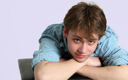 Closeup of handsome teen boy Stock Images