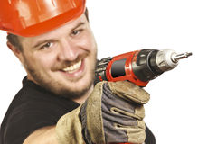 Closeup on handyman with drill Royalty Free Stock Photo