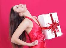 Closeup. happy beautiful woman enjoying her gift. Royalty Free Stock Image