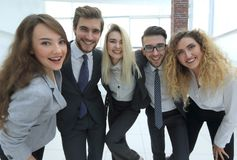 Closeup.happy business team looking at camera Royalty Free Stock Photography