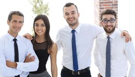 Closeup of a happy business team of people. Royalty Free Stock Photos