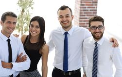Closeup of a happy business team of people. The concept of teamwork Stock Image