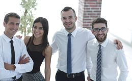 Closeup of a happy business team of people. The concept of teamwork Royalty Free Stock Photography