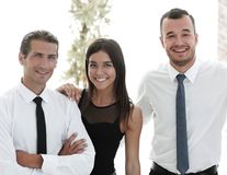 Closeup of a happy business team of people. Stock Photos