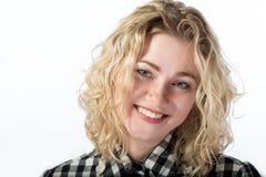 Closeup of happy caucasian blond girl Stock Photography