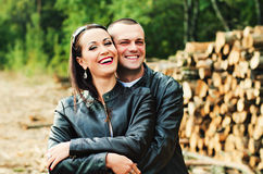 Closeup of happy couple in autumn. Happy couple looking at camera and smiling Stock Images