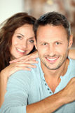 Closeup of happy couple at home Royalty Free Stock Photos