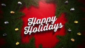 Closeup Happy Holidays text, garland and green branches on red background royalty free illustration
